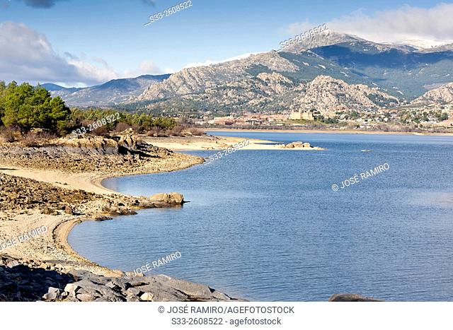 Santillana reservoir an Maliciosa peak in the Sierra de Guadarrama. Manzanares el Real. Madrid. Spain. Europe