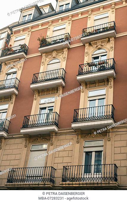 View of a house facade from below in Bilbao, Basque Country, Spain, Europe