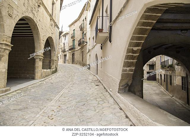 Torre del Compte is a medieval village in Matarrana county Aragon Spain Town hall palace detail