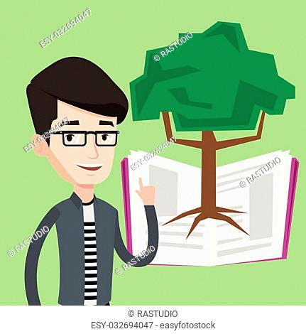 Happy student standing on the background of tree growing from open book. Cheerful student pointing at tree of knowledge. Concept of education
