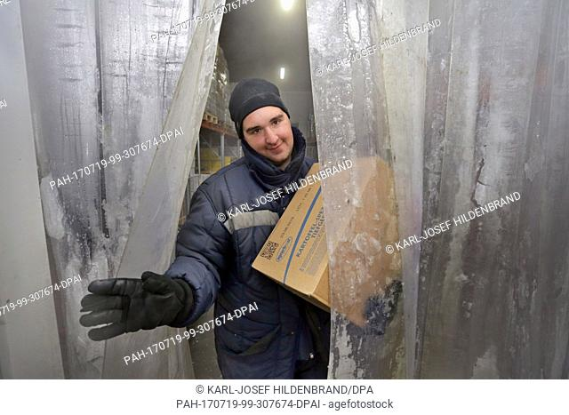 Warehouseman Dominik Kiesewetter works in a cold storage of a retail chain at temperatures of minus 27 degrees Celsius in Mauerstetten, Germany, 19 July 2017