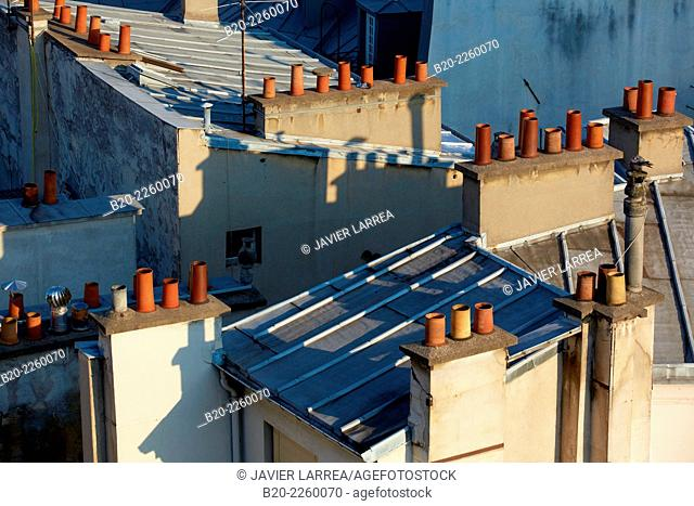 Parisian rooftops and chimneys. Latin Quartier. Paris. France