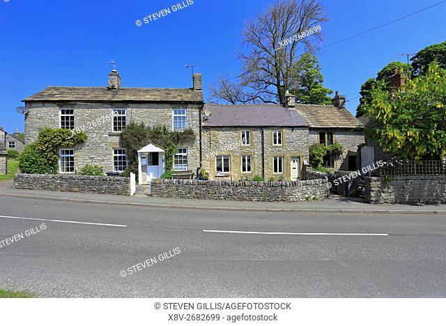Stone cottages in Foolow village, Peak District National Park, Derbyshire, England, UK