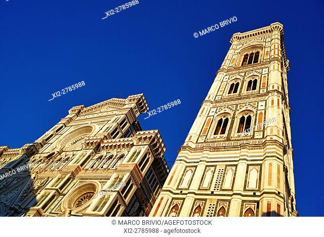 Giotto's Campanile is a free-standing campanile that is part of the complex of buildings that make up Florence Cathedral on the Piazza del Duomo in Florence