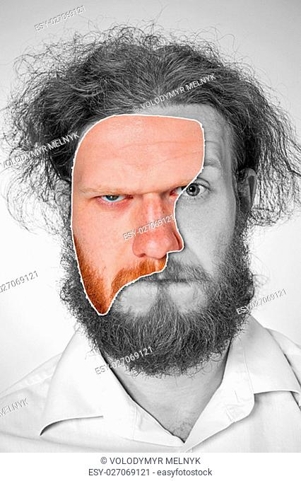 Portrait of young man with long red hair and with shocked facial expression on gray background. Collage