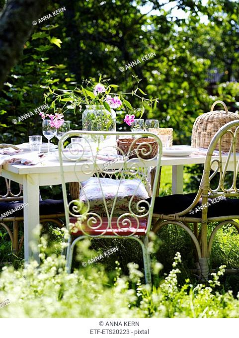 Scandinavia, Sweden, Outdoors table setting