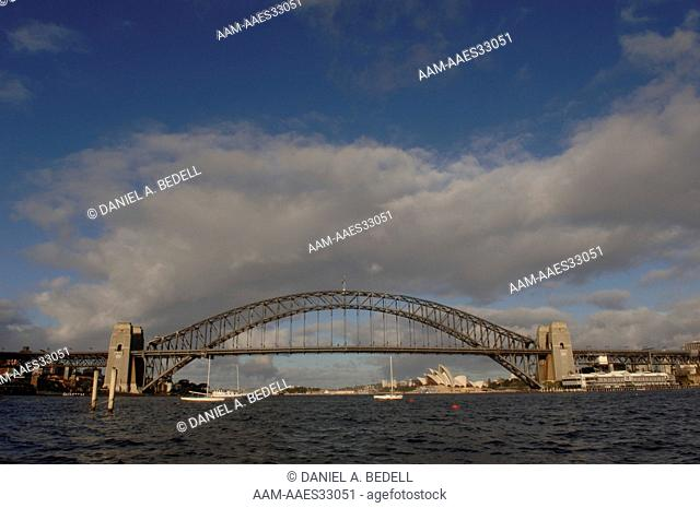 Sydney Harbour Bridge in July, sailboats, Opera House Sydney, New South Wales, Australia digital capture