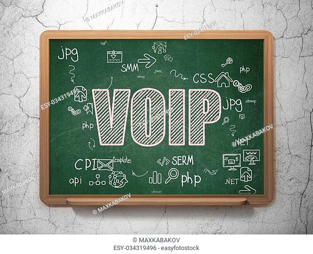 Web development concept: Chalk Pink text VOIP on School Board background with Scheme Of Hand Drawn Site Development Icons, 3d render