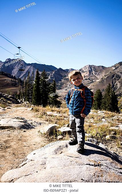 Toddler posing, Catherine's Pass Trail, Albion Basin, Alta, Utah, USA