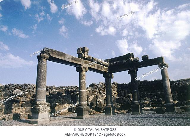 Photograph of the ancient synagogue of Chorazin at the Upper Galilee