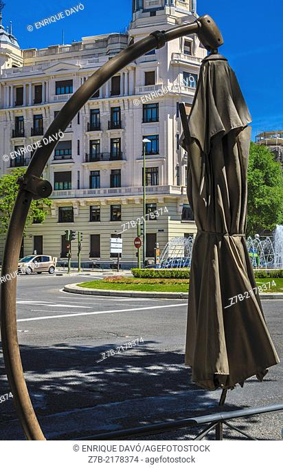 View of a closed sunshade in a central square of Madrid city, Spain