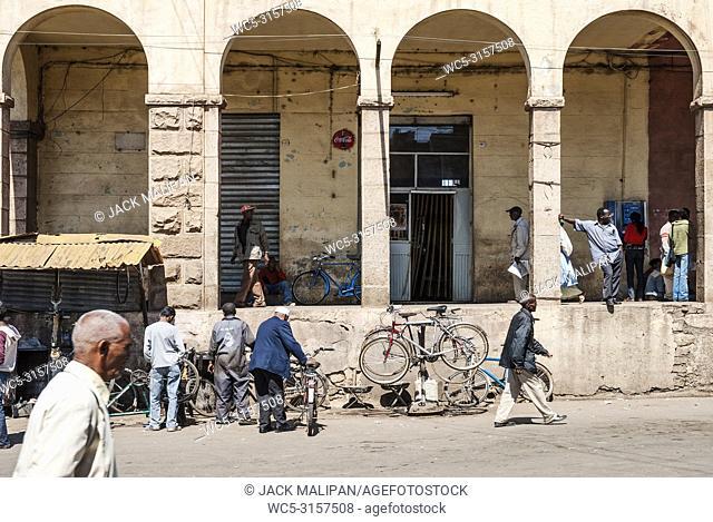 street in central market shopping area of asmara city eritrea