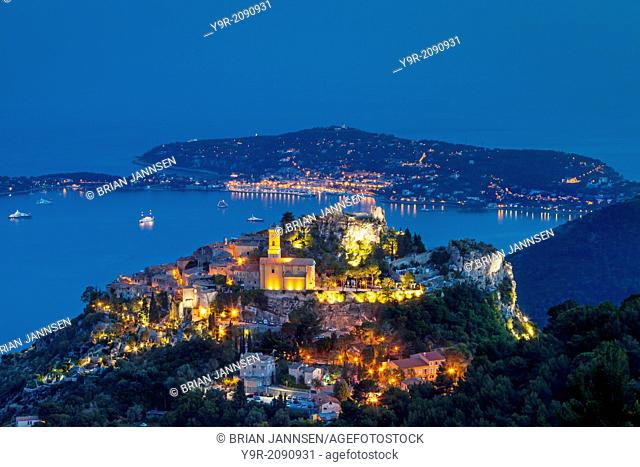 Twilight over the hilltop town of Eze with St. Jean-Cap Ferrat beyone, Provence France