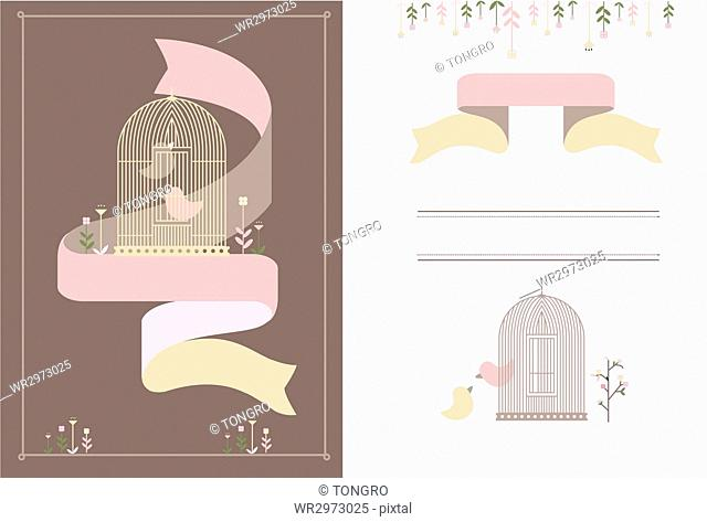 Invitation cards with bird in cage