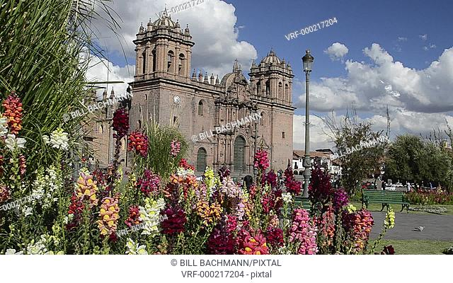 Cusco Cuzco Peru Main Square at Cathedral Church with flowers South America