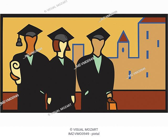 Illustration of three graduates in cap and gown with buildings in background