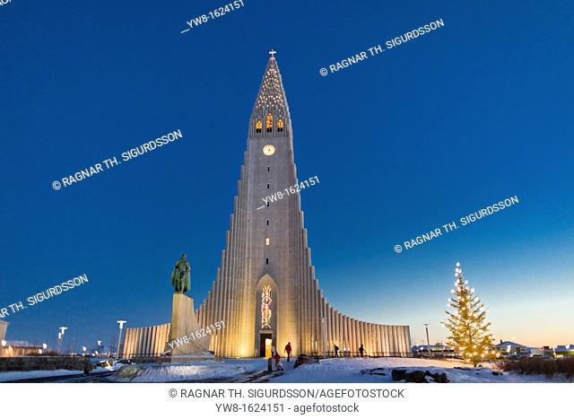Christmas time, Hallgrimskirkja Church with statue of Leif Eriksson , Reykjavik Iceland