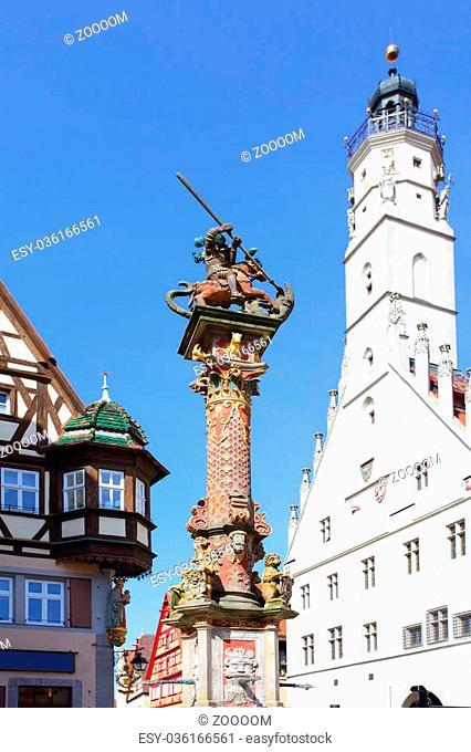 Column near town hall in Rothenburg ob der Tauber, Germany