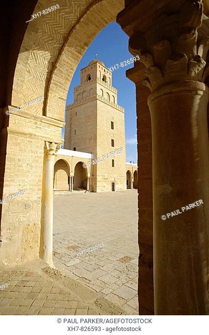 The Great Mosque (Sidi Okba Mosque) in Kairouan, Tunisia