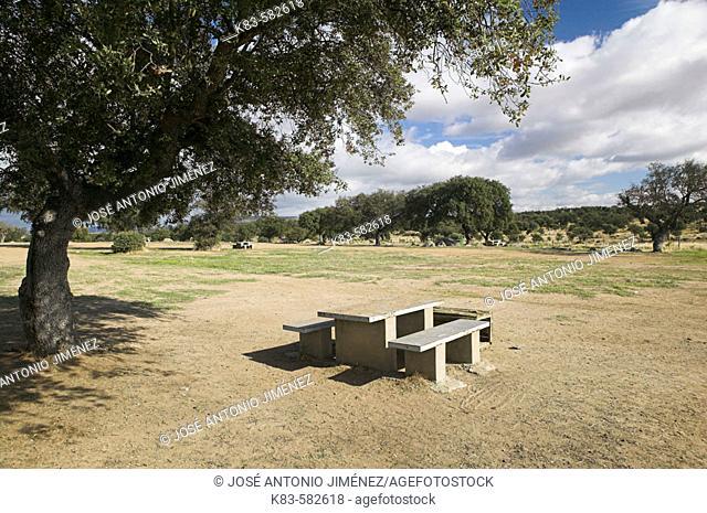Picnic area in Cornalvo Natural Park. Extremadura, Spain