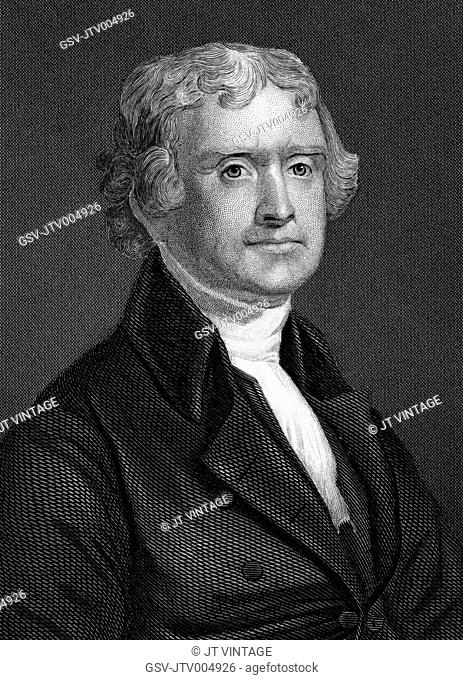 Thomas Jefferson (1743-1826), Third President of the United States, American Founding Father and Author of the Declaration of Independence, Portrait