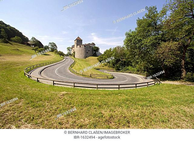 Winding road leading up to Vaduz Castle, residence of the dynasty and landmark of the capital Vaduz, Principality of Liechtenstein, Europe