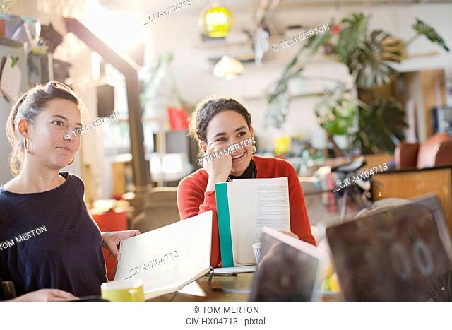 Young female college student roommates studying in apartment