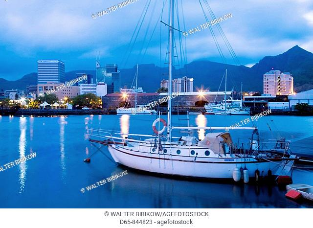 Port Louis, city view from harbor at dawn, Mauritius