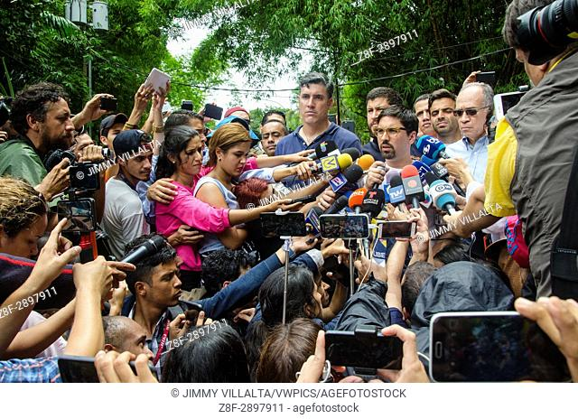 Freddy Guevara, leader of the People's Will and First Vice-President of the National Assembly of Venezuela, gives statements to the press about the resolution...