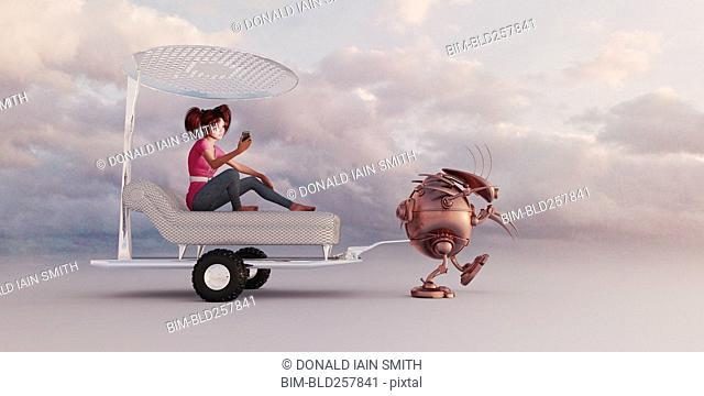 Robot pulling girl in luxury futuristic rickshaw
