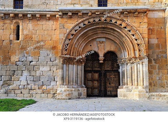 Door of the romanesque church of San Miguel Arcángel in Caltojar. Soria province. Castilla y Leon. Spain