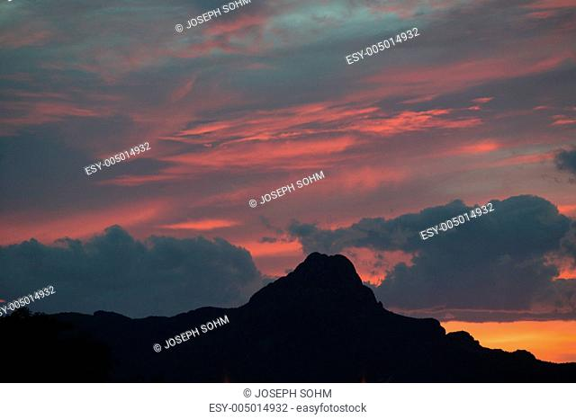 Sunset sky and mountain near Saguaro National Park West, Tucson, Arizona