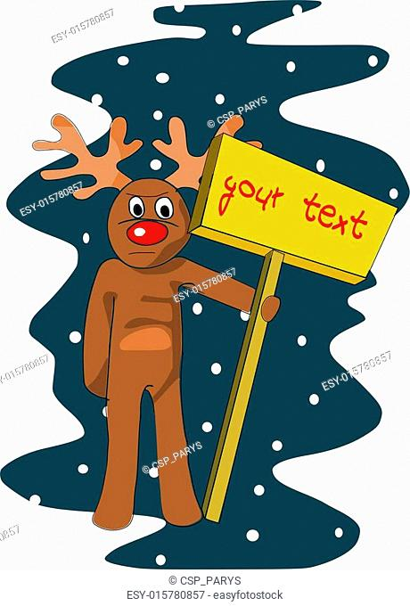 Reindeer with table for your text. Editable vector illustration