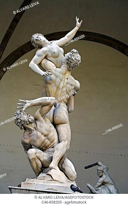 'Rape of the Sabines' (1579-83) freestanding sculpture by Giambologna at Loggia dei Lanzi, Piazza della Signoria, Florence, Tuscany, Italy