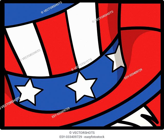 Drawing Art of Uncle Sam Hat - 4th of July Vector theme Design