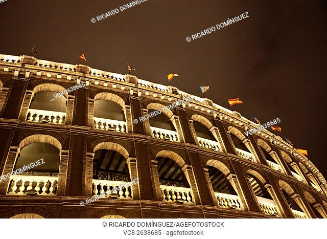 Valencia bull ring at night. Spain