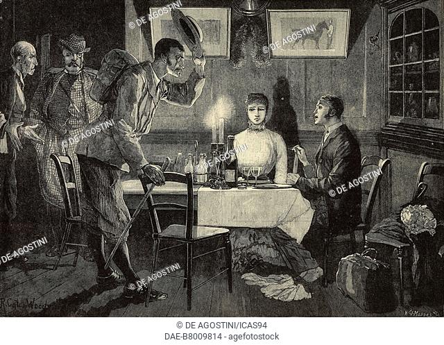 Intruders, couple at a table, engraving from a drawing by Richard Caton Woodville, The Illustrated London News, No 2211, October 1, 1881
