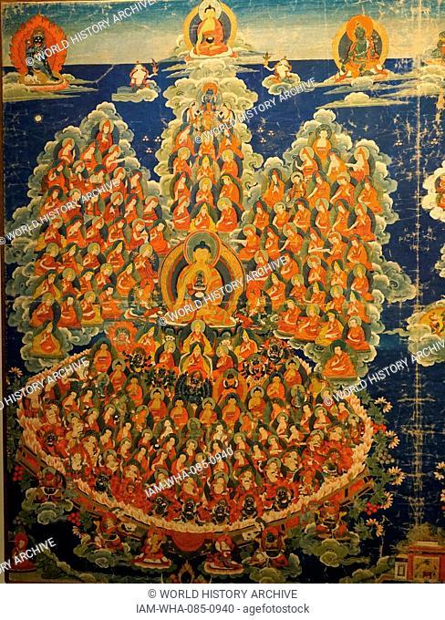 Tibetan Buddhist Thanka depicting the deities and Lamas of the Geluk Order. Painted silk and cotton, beginning of 20th century