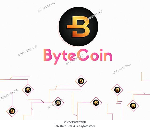 Bytecoin cryptocurrency technology background style vector illustration