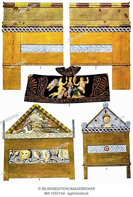 Historic illustration, Greek ornaments, painted Greek wooden coffins, Watzinger, Greek wood sarcophagi from Alexander the Great's era