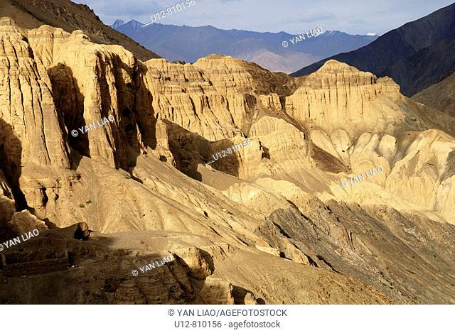 The area of the Valley of the Moon near Lamayuru in Ladkh, India was a former lake After this place was flooded , huge sandstone pillars where remaining Through...