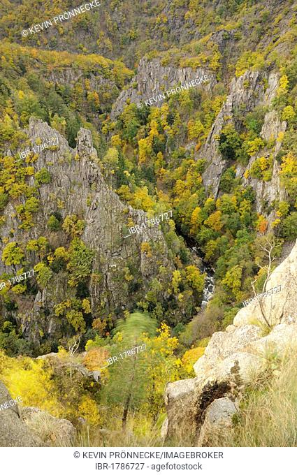 View of the Bodetal valley as seen from Rosstrappe granite crag in autumn, Saxony-Anhalt, Germany, Europe