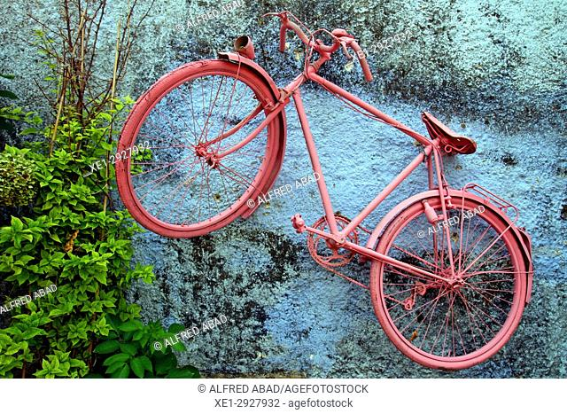 pink bicycle hanging on the wall