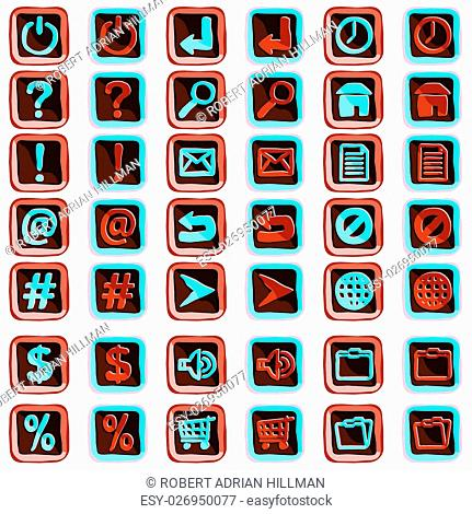 Set of editable vector icons or web buttons