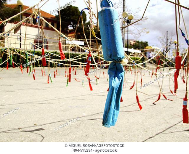 'Mascletà', firecrackers during 'fallas', festive bonfires. Pl. Puerta del Sol de La Canyada. Paterna. Comunidad Valenciana. Spain. Europe