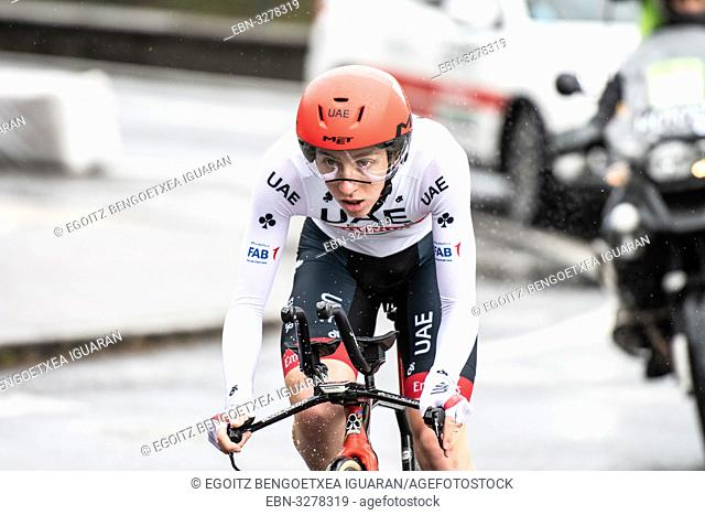 Tadej Pogaar at Zumarraga, at the first stage of Itzulia, Basque Country Tour. Cycling Time Trial race