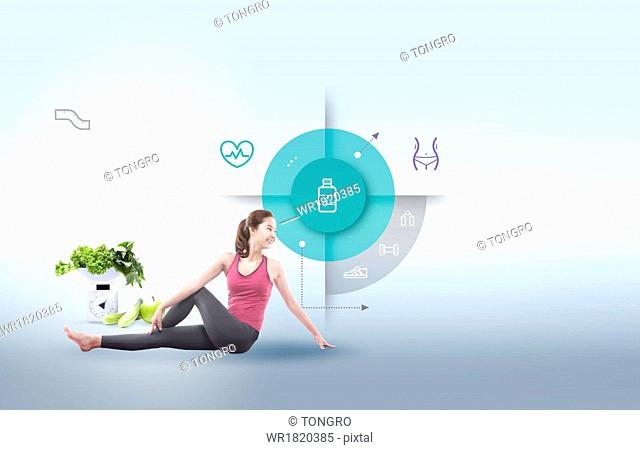 An infographic template with a fitness woman