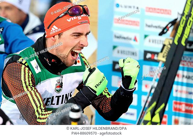 German Johannes Rydzek celebrates his win at the Nordic Ski World Championship in Lahti, Finland, 01 March 2017. Photo: Karl-Josef Hildenbrand/dpa | usage...