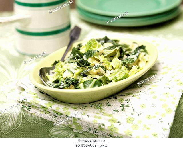 Mixed cabbage in vintage dish