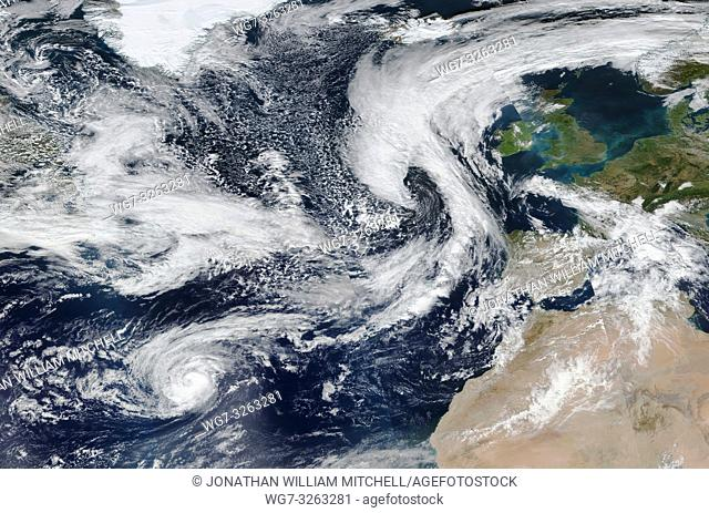 NORTH ATLANTIC OCEAN - 11 Oct 2018 - This composite of NASA MODIS satellite data from 10 Oct 2018 (latest available) shows Storm Callum - which is forecast by...